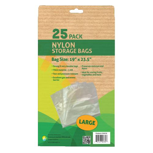Grower's Edge Nylon Storage Bag - 1 mil 19 in x 23.5 in - 25/Pack (6/Cs)