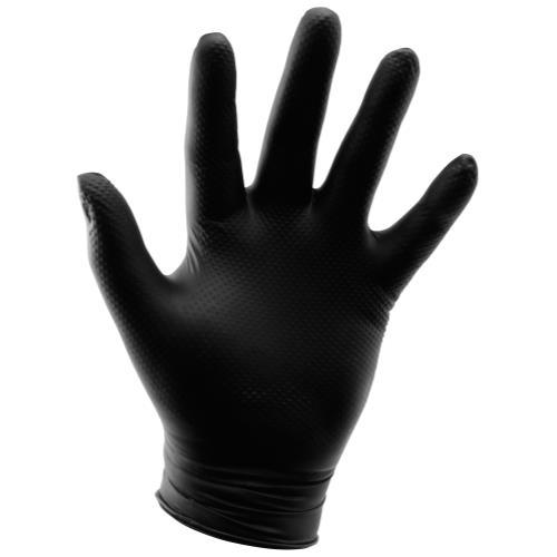 Grower's Edge Black Powder Free Diamond Textured Nitrile Gloves 6 mil - Large (100/Box)